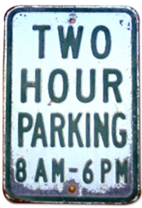 Two hour parking sign from the 1930s