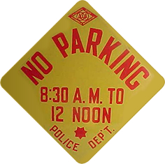 Yellow No Parking Sign