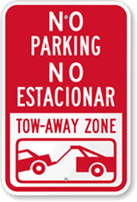 Bilingual No Parking Sign Spanish and English