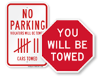 Don't even think about parking here sign