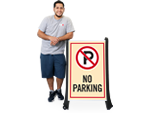 No Parking Signs on a Stand