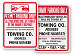 Permit Required Tow Away Signs