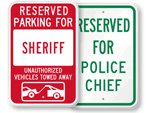 Police Station Reserved Parking Signs - by Title