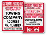 Restaurant Parking Only - Tow Away Signs