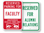 University Reserved Parking Signs - by Title