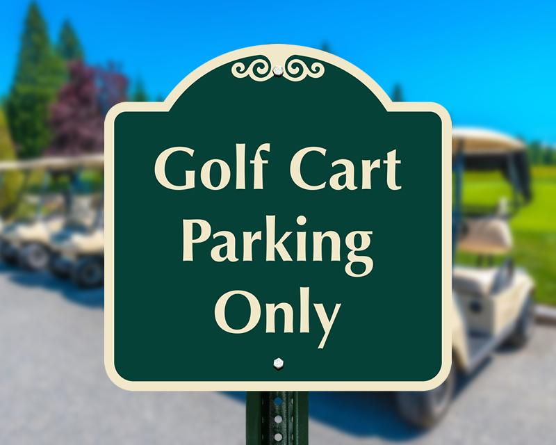Crossings Golf Course >> Golf Cart Signs   Aluminum Golf Cart Parking and Crossing Signs