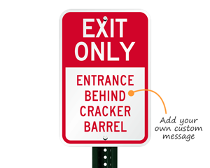 Custom exit sign for parking lots
