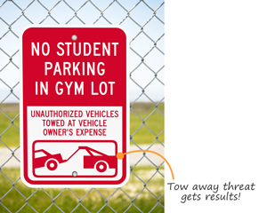 Custom no parking sign with tow away symbol