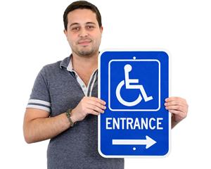 Handicap accessible entrance sign