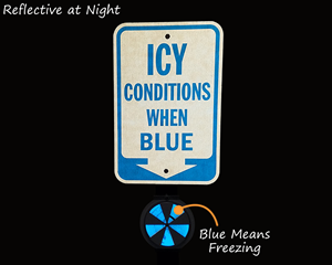 Ice alert reflectors at night