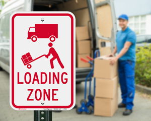 Loading unloading zone signs