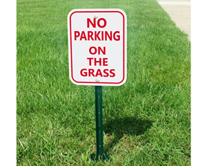 No parking on the grass sign and stake kit