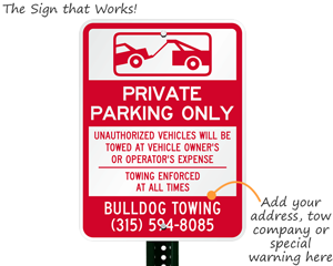 Private parking tow away sign
