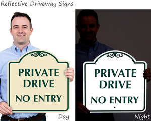 Reflective driveway signs