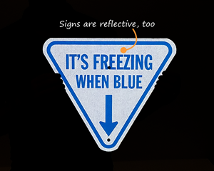 Reflective ice alert sign