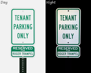 Reflective tenant parking signs