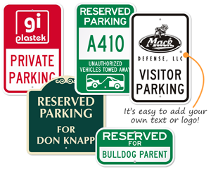 Reserved parking sign templates