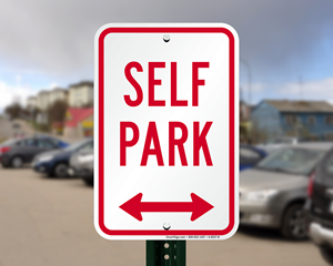 Self-park signs