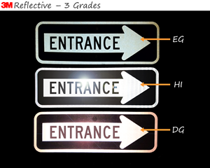 Three grades of reflective entrance signs