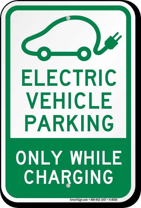 Electric Vehicle Reserved Parking Sign , SKU: K-8559