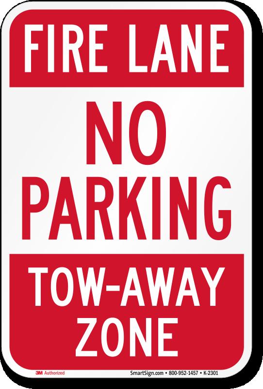 Aluminum Sign Fire Lane No Parking Sku K 2301