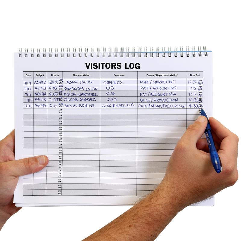 visitor log book template