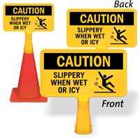 Slippery When Wet Or Icy ConeBoss Sign
