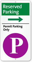 Reserved Permit Parking On Right iParking Sign