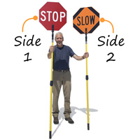 Crossing Guard Stop Slow Sign Pole