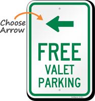 Free Valet Parking Left Arrow Sign
