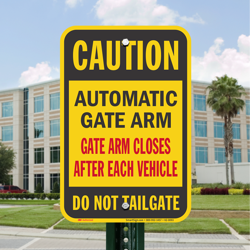 Automatic Gate Arm Closes After Each Vehicle Sign Sku K2