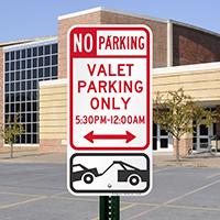 No Parking - Valet Parking Only Sign