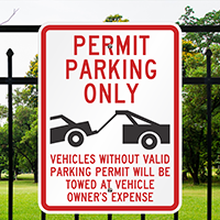 Aluminum Parking Permit Sign (tow truck Symbol)