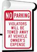No Parking, Violators Towed Away Sign Book