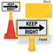 Keep Right Arrow ConeBoss Sign