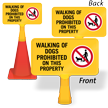Walking of Dogs Prohibited ConeBoss Sign