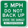 5 Mph Do Not Back Up Sign