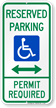 Reserved Parking Permit Required Sign