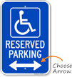 Michigan Reserved Accessible Parking Sign, Left Arrow
