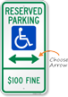 North Dakota Reserved ADA Parking Sign, Left Arrow