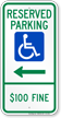 North Dakota Reserved ADA Parking Sign, Right Arrow