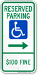 North Dakota Bidirectional Reserved ADA Parking Sign