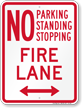 Bidirectional No Parking, Fire Lane Sign