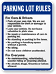 Parking Lot Rules For Cars Drivers Everyone Sign