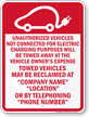 Custom California Electric Vehicle Parking Tow-Away Sign