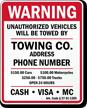 Custom Arkansas Tow-Away Sign
