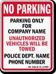 Custom Delaware Tow-Away Sign