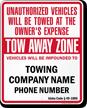 Custom Idaho Tow-Away Sign