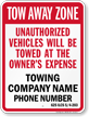 Custom Illinois Tow-Away Sign