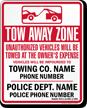 Custom Massachusetts Tow-Away Sign
